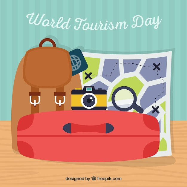World tourism day, a red suitcase