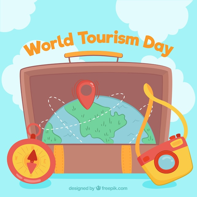 World tourism day, a suitcase with planet earth
