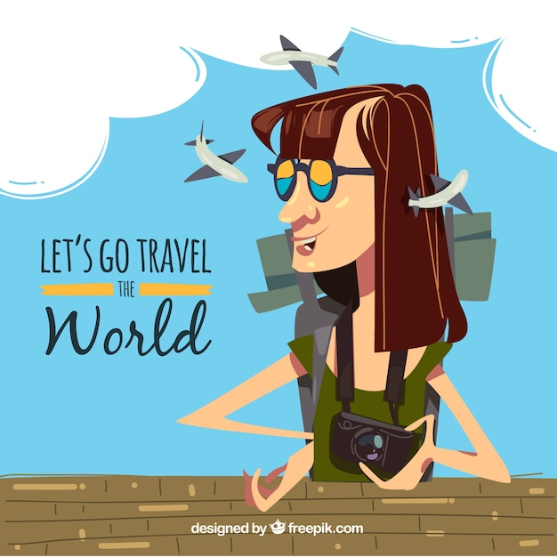 World tourism day, a woman traveling the world