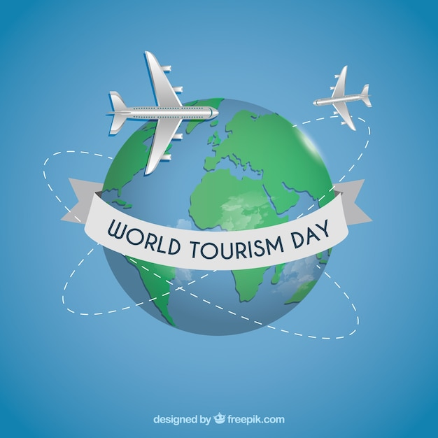 World tourism day background with earth globe Free Vector
