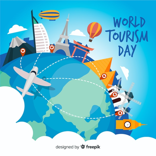 World tourism day background with landmarks and transport Free Vector