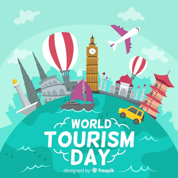 World tourism day background with landmarks Free Vector