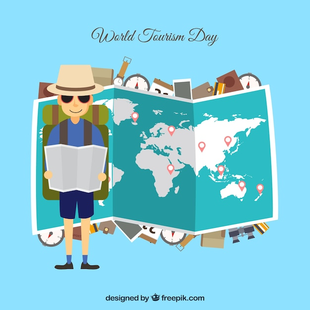 World tourism day background with map Free Vector