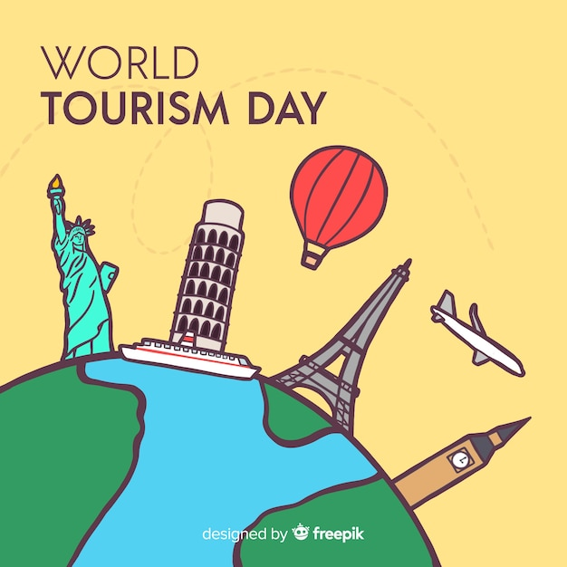 World tourism day background with monuments around earth Free Vector