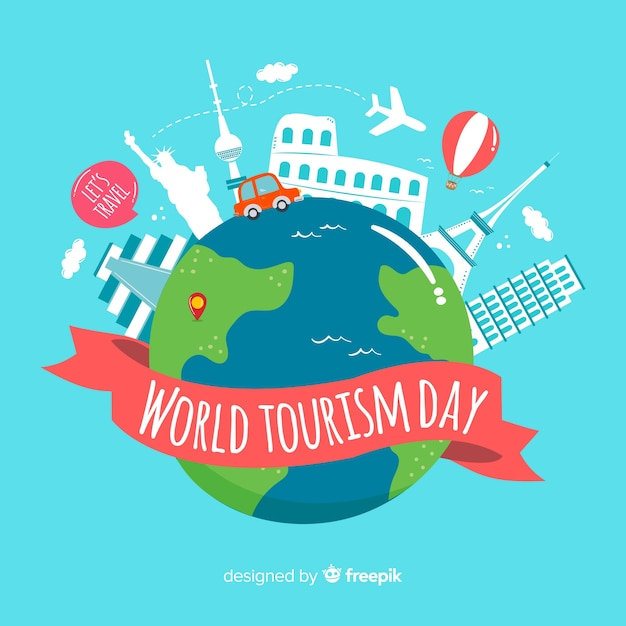 world tourism day background with world and monuments vector free