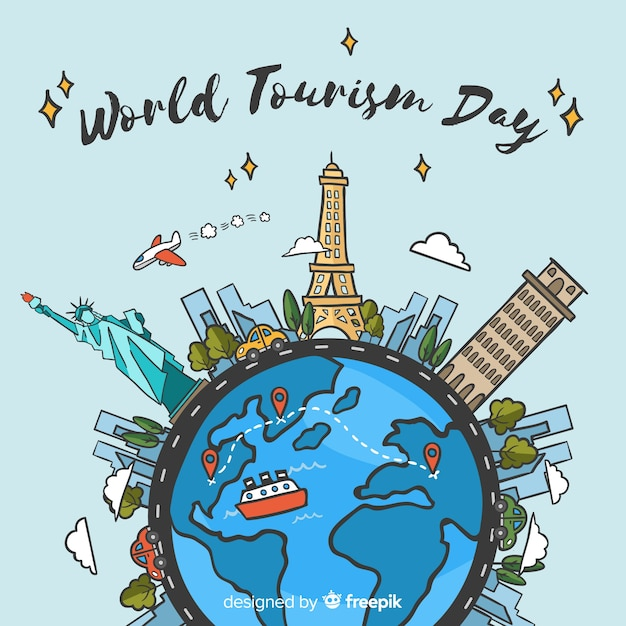 World tourism day background with world and monuments Free Vector