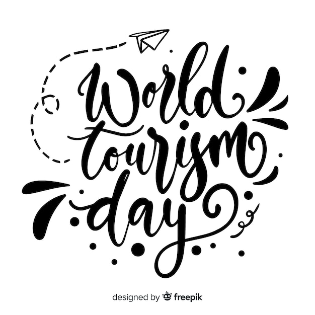 World tourism day calligraphy Free Vector