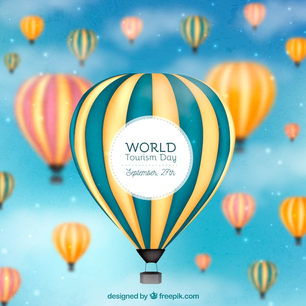 World tourism day composition with balloons