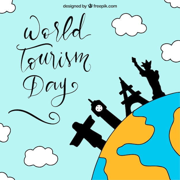 World tourism day, hand drawn letters