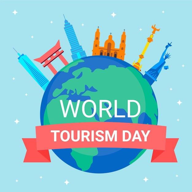 Всемирный день туризма иллюстрация Бесплатные векторы