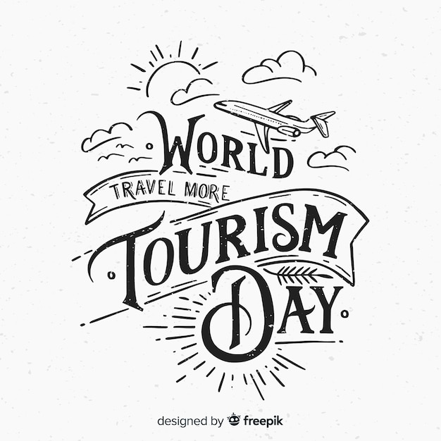 World tourism day lettering background Free Vector