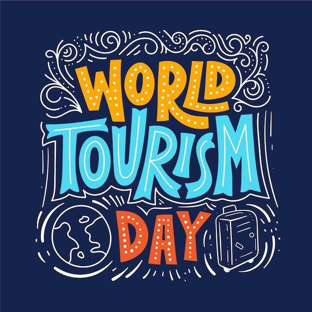 Giornata mondiale del turismo - concetto di lettering Vettore gratuito