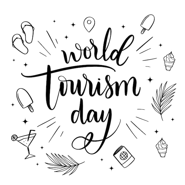 해변 요소가있는 세계 관광의 날 글자 무료 벡터