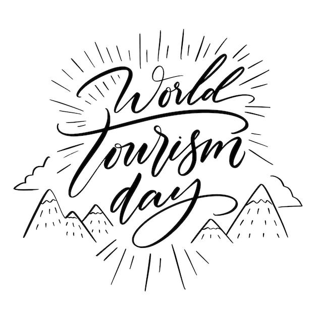 산으로 세계 관광의 날 글자 무료 벡터