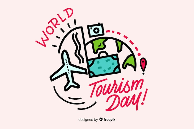 World tourism day lettering Free Vector