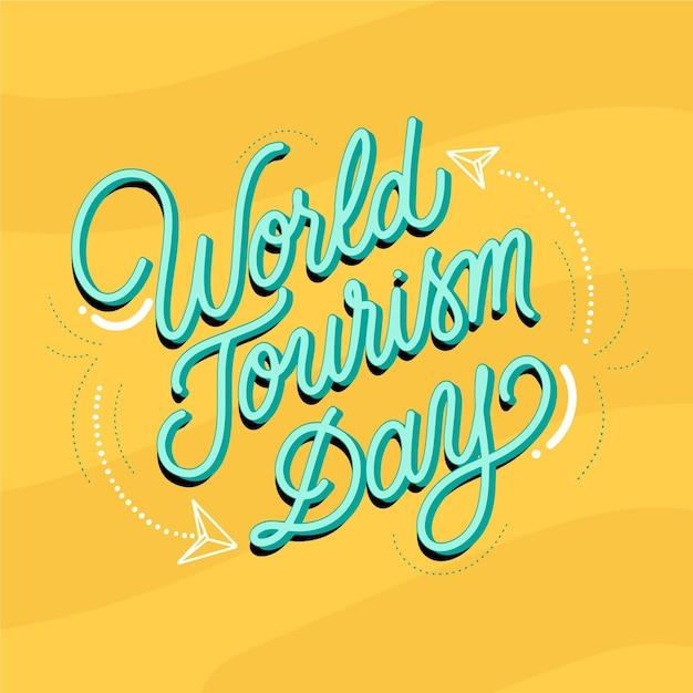Lettering della giornata mondiale del turismo Vettore gratuito