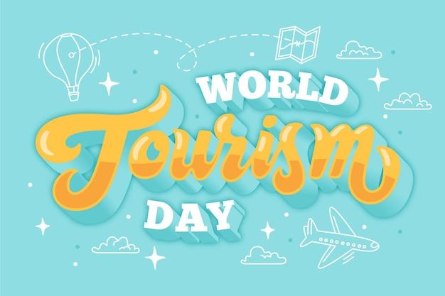 Всемирный день туризма надписи Бесплатные векторы
