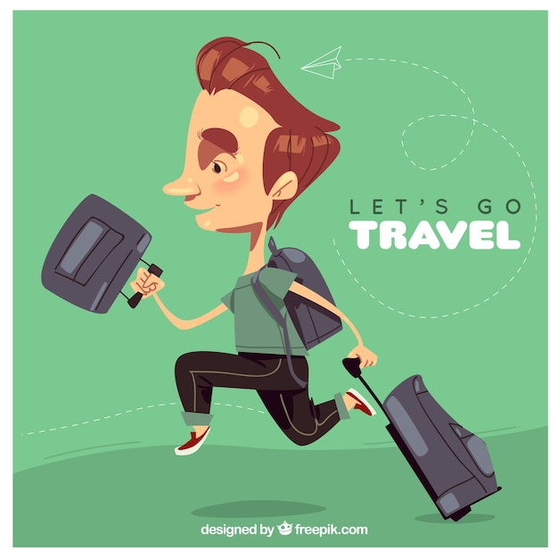 World tourism day, a man traveling the world Free Vector