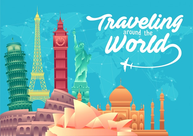 World tourism day poster with world's famous landmarks and tourist destinations elements Premium Vector