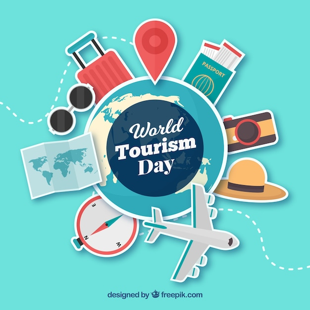 World tourism day, stickers Free Vector