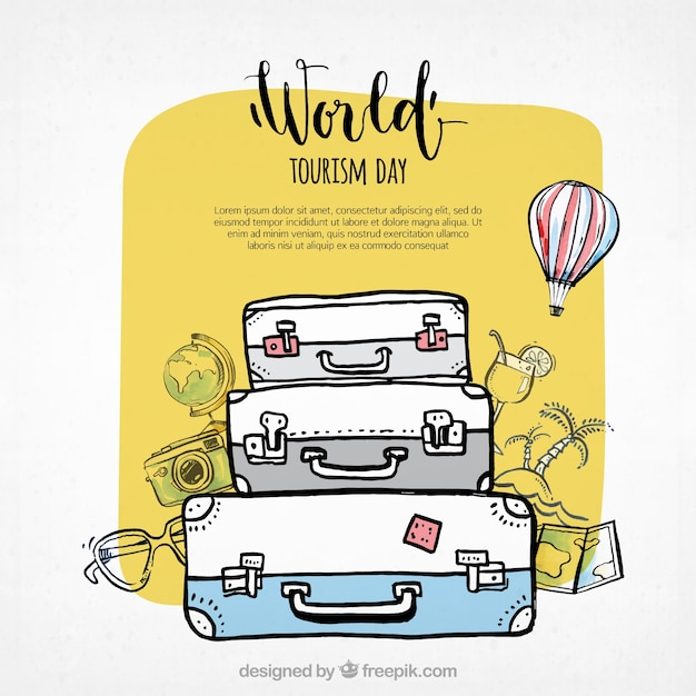 World tourism day, three suitcases Free Vector
