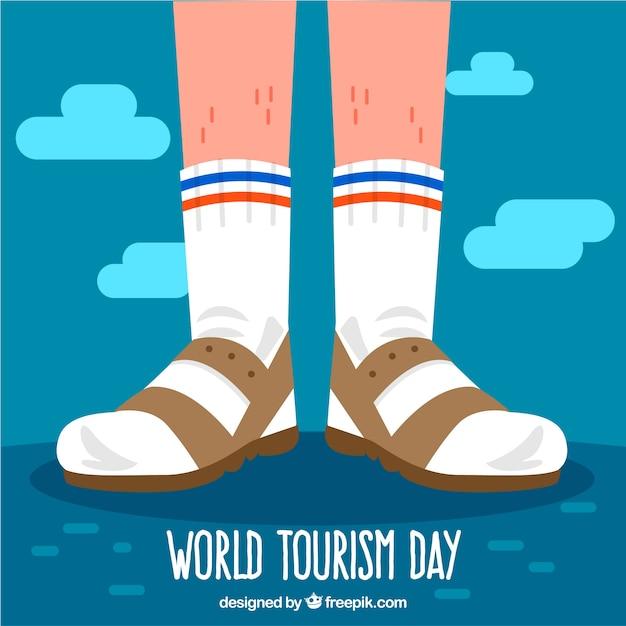 World tourism day, tourist feet Free Vector