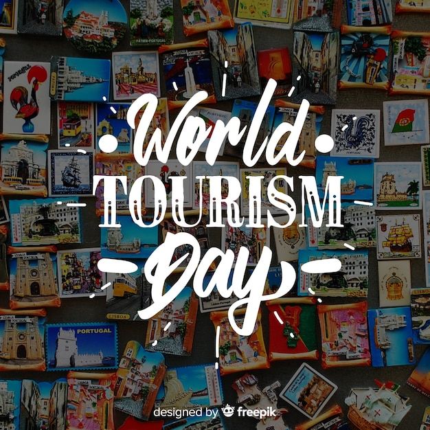 World tourism day with fridge magnets Free Vector