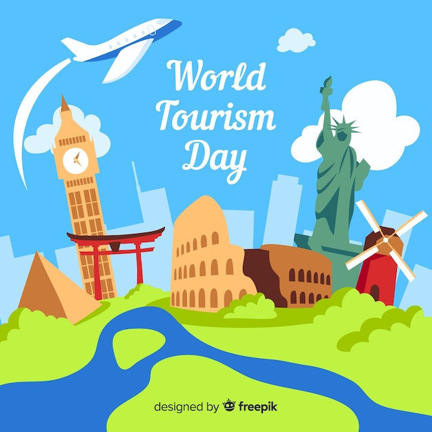 World tourism day with landmarks Free Vector