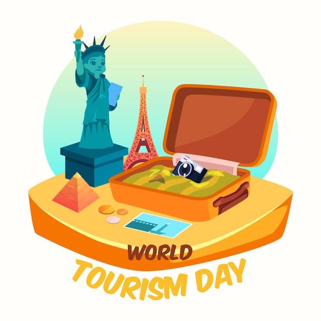 荷物を開いた世界観光の日 無料ベクター