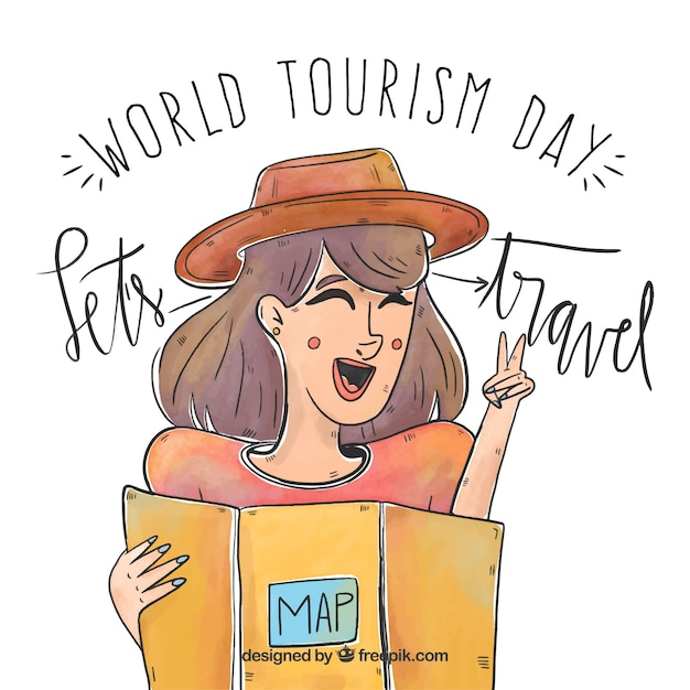 World tourism day, woman traveling