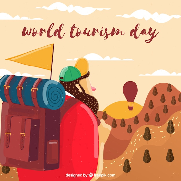 World tourism day, young man starts a travel