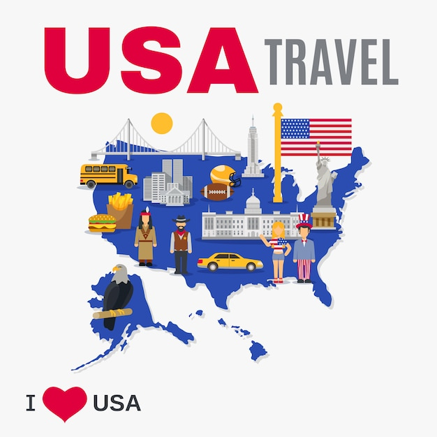 World travel agency usa culture flat poster Free Vector
