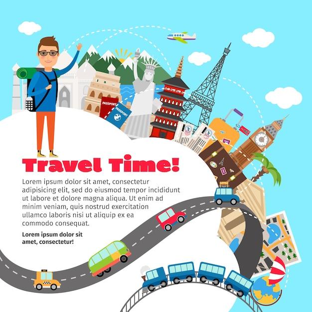 世界旅行と夏休みの計画テンプレート 無料ベクター