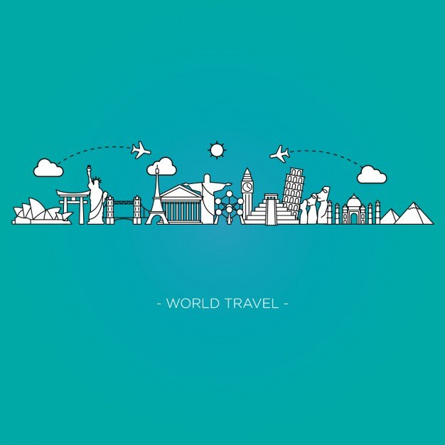 world travel background vector free download