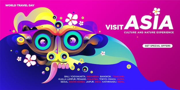 World travel day asian visit banner template Premium Vector
