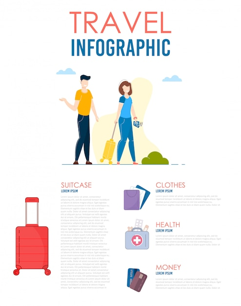 World travel infographic. man and woman journey Premium Vector