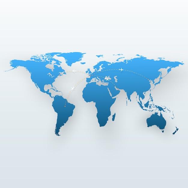 World travel map Premium Vector