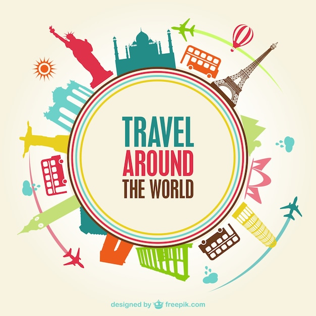 World travel monuments Free Vector