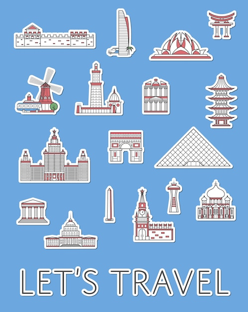World traveling labels set in linear style Premium Vector