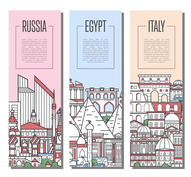 World traveling tour banners in linear style Premium Vector