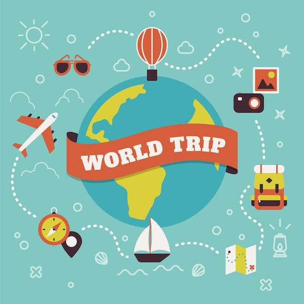 World trip vector free download for All inclusive around the world trip