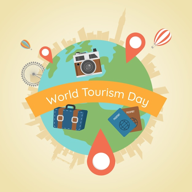 World and turistic elements with flat design Free Vector
