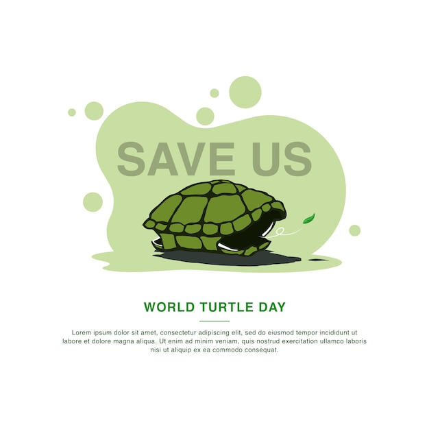 World turtle day campaign template. vector illustration Premium Vector