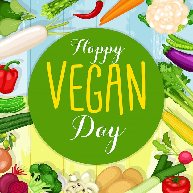 World vegan day poster with flat design vegetables background Premium Vector
