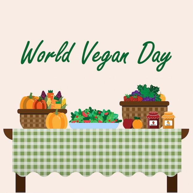 World vegan day Premium Vector