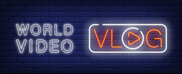 World video on vlog neon sign. vlog lettering with player button instead of o letter Free Vector