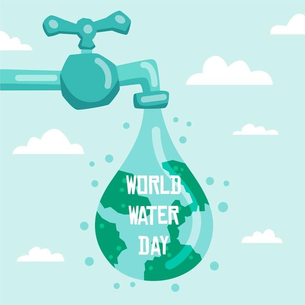 世界水の日手描き 無料ベクター