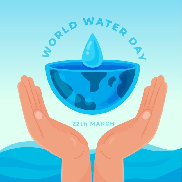 World water day illustration with hands and planet Free Vector