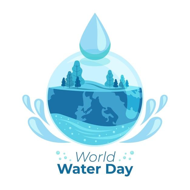 Иллюстрация всемирного дня воды с природой и каплей воды Бесплатные векторы