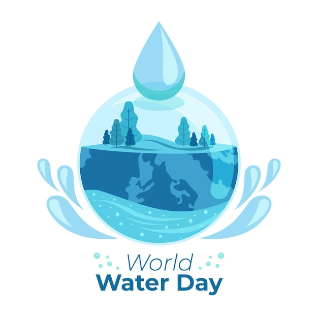 World water day illustration with nature and water drop Free Vector